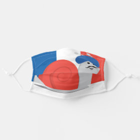 French Escargot Snail in a Beret Cartoon Cloth Face Mask
