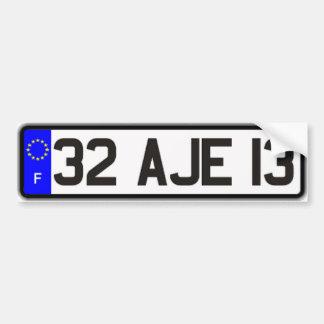 French Euro License Plate White Bumper Sticker Car Bumper Sticker