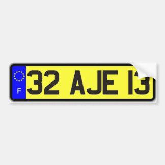 French Euro License Plate Yellow Bumper Sticker Car Bumper Sticker