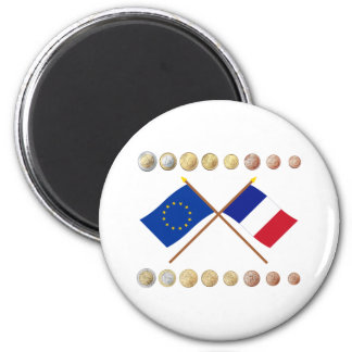 French Euros and EU & France Flags Magnet