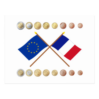 French Euros and EU & France Flags Postcard