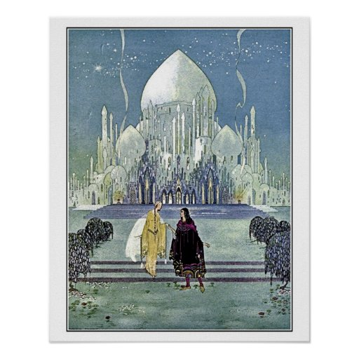 French fairy tales: Princess and Prince Charming Print