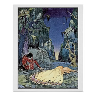 French fairy tales: Violette and Ourson sleeping Poster