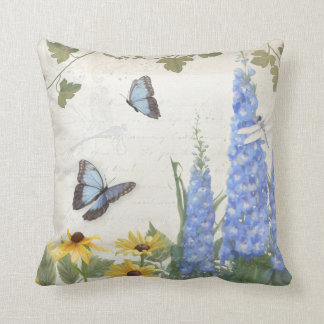French Farm Vintage Delphinium Butterfly Script Throw Pillow