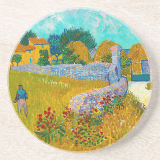 French Farmhouse in Provence by Vincent van Gogh Drink Coaster