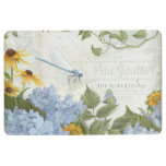 French Farmhouse Vintage Floral Dragonfly Script Floor Mat