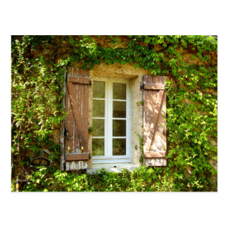 French Farmhouse Window & Shutters Postcard