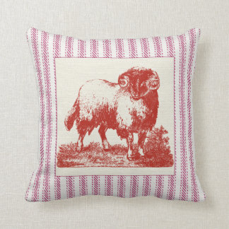 French Farmyard Sheep with Ticking Throw Pillow