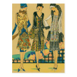 French Fashion - Coloful Town Dresses Postcard