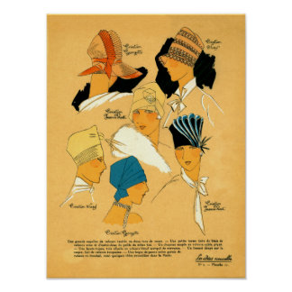 French Fashion Elegant Hats for Women 1920s Poster