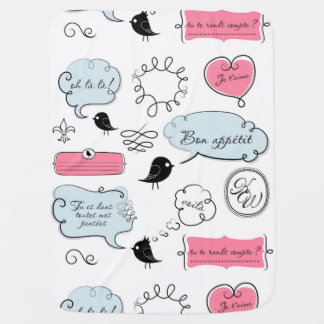French Fashion Style Speech Bubbles Swaddle Blanket