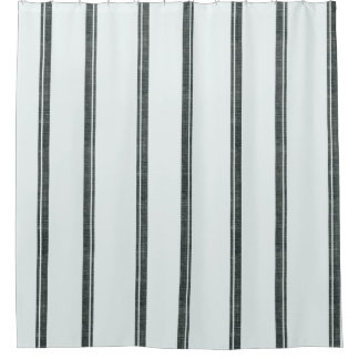 French Feed Sack Stripe Style Shower Curtain