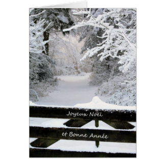 French Fence in snow Merry X-mas & Happy New Year Greeting Card