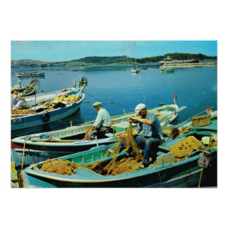 French fishermen sorting their nets poster