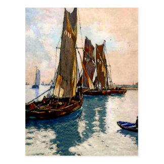 French fishing boats 1925 postcard