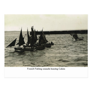 French Fishing vessels leaving Calais Postcard