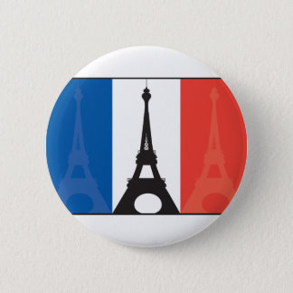 French Flag and Eiffel Tower Pinback Button