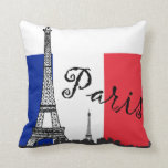 French Flag and the Eiffel Tower Pillow