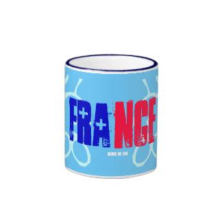 French Flag Colors Red White Blue Ringer Coffee Mug