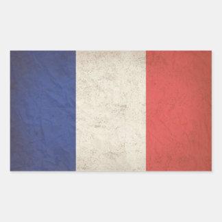 French Flag Distressed Rectangular Sticker