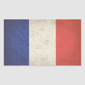 French Flag Distressed Rectangular Stickers