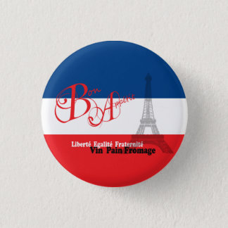 French Flag Eiffel Tower Bon Appetit Pinback Button