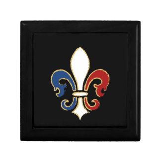 French Flag Fleur de Lis with Gold Trinket Box