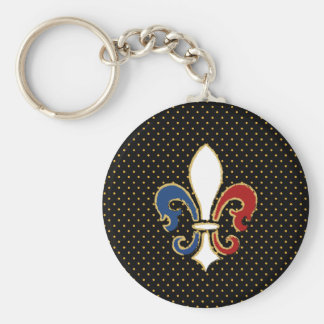 French Flag Fleur de Lis with Gold Keychain