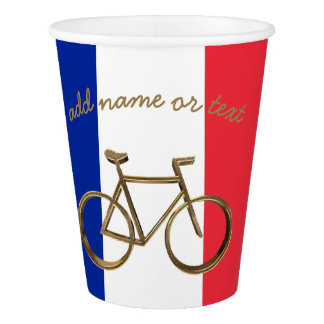 French Flag France Bike Bicycle Cycling Cyclist Paper Cup