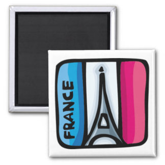 French Flag - France 2 Inch Square Magnet