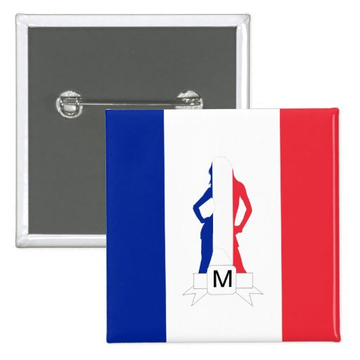 French flag & girl monogram buttons