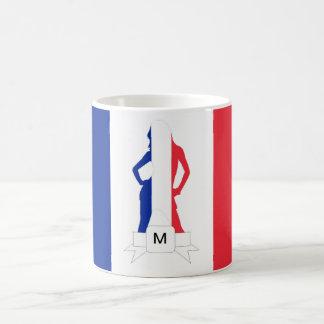 French flag & girl monogram coffee mug