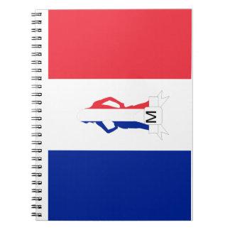 French flag & girl monogram notebook