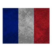 French Flag Grunge Postcard