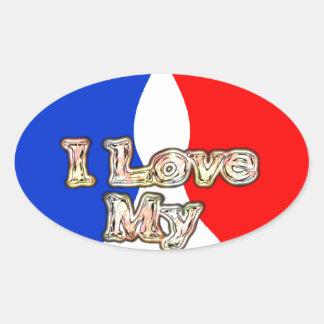 French Flag Hakuna Matata I love My Wife image.png Oval Sticker