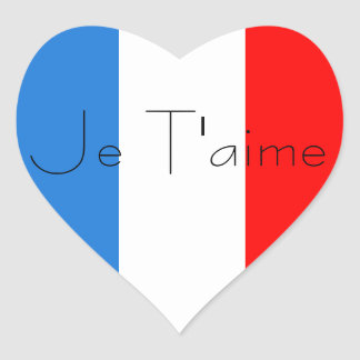French Flag Heart Je T aime stickers