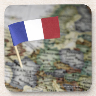 French flag in map drink coaster