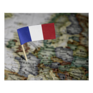 French flag in map poster