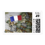 French flag in map stamps