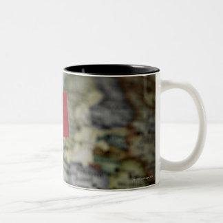 French flag in map Two-Tone coffee mug