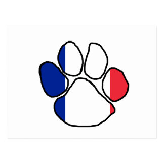french flag mega paw postcard
