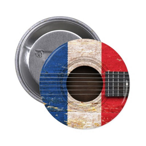 French Flag on Old Acoustic Guitar Pinback Buttons