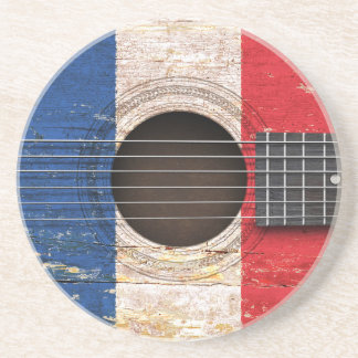 French Flag on Old Acoustic Guitar Drink Coaster