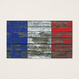French Flag on Rough Wood Boards Effect Business Card