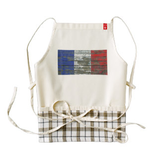 French Flag on Rough Wood Boards Effect Zazzle HEART Apron