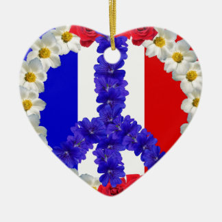 french flag peace sign ceramic ornament