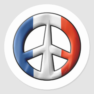 French Flag Peace Sign Classic Round Sticker