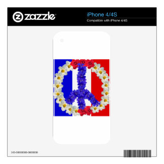 french flag peace sign iPhone 4 decals
