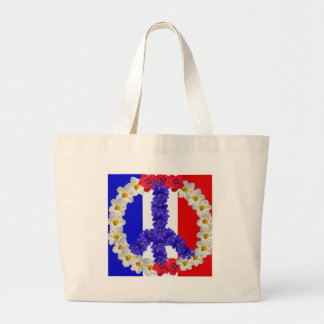 french flag peace sign large tote bag