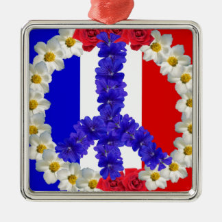 french flag peace sign metal ornament